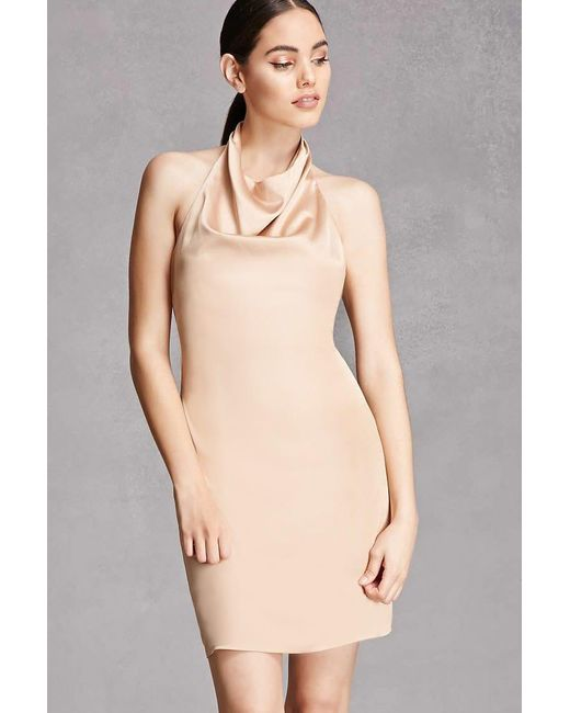 Cowl Neck Satin Wedding Dresses: Forever 21 Satin Cowl Neck Halter Dress , Tan In Natural