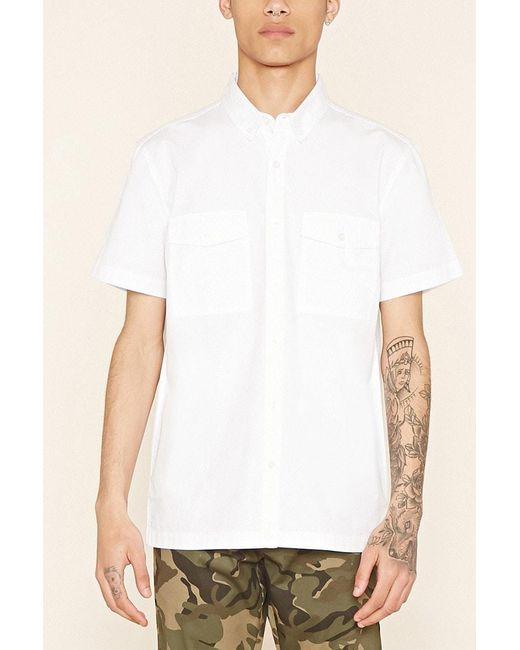 Forever 21 | White Flap-pocket Cotton Shirt for Men | Lyst