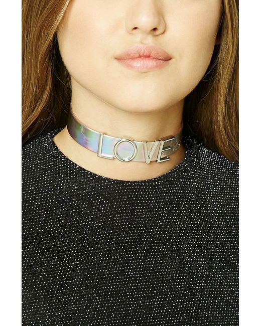 Forever 21 - Multicolor Love Charm Holographic Choker - Lyst