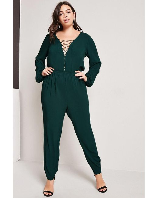 Forever 21 | Green Plus Size Drapey Jumpsuit | Lyst