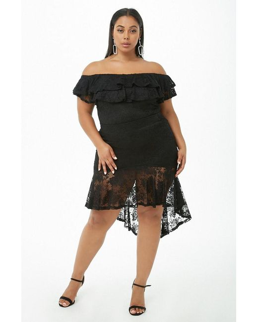 073b1a1bcd8 ... Forever 21 - Black Plus Size Floral Lace Off-the-shoulder Crop Top ...