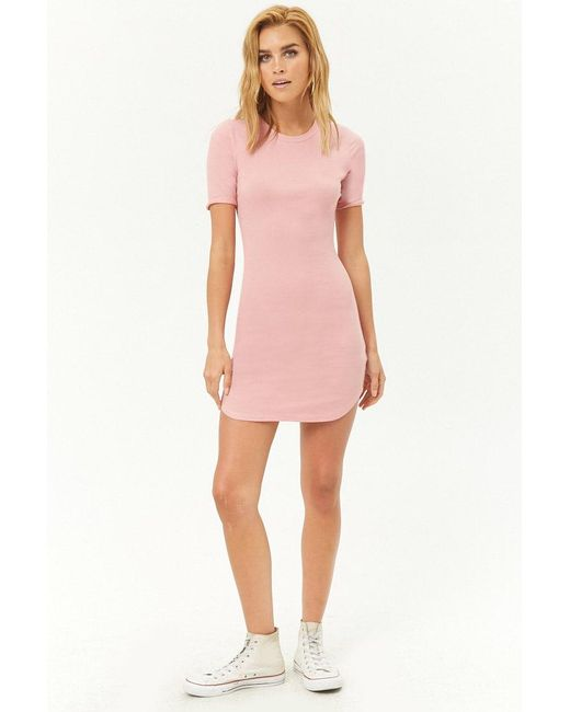 503fffef ... Forever 21 - Pink Women's Ribbed Bodycon T-shirt Dress - Lyst