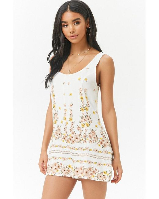 Forever 21 - White Floral Scoop-neck Playsuit - Lyst