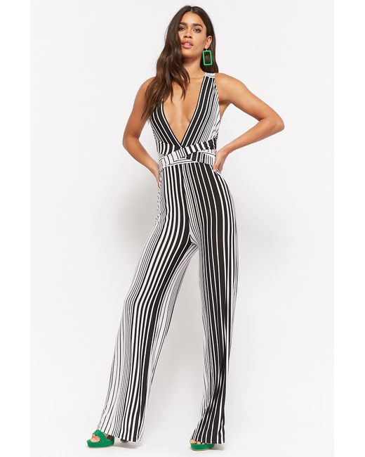 d29e0c03f0a Forever 21 - Black Striped Halter Jumpsuit - Lyst ...