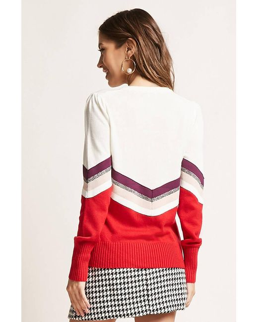 Lyst Forever 21 Chevron Jumper Knit Top In White