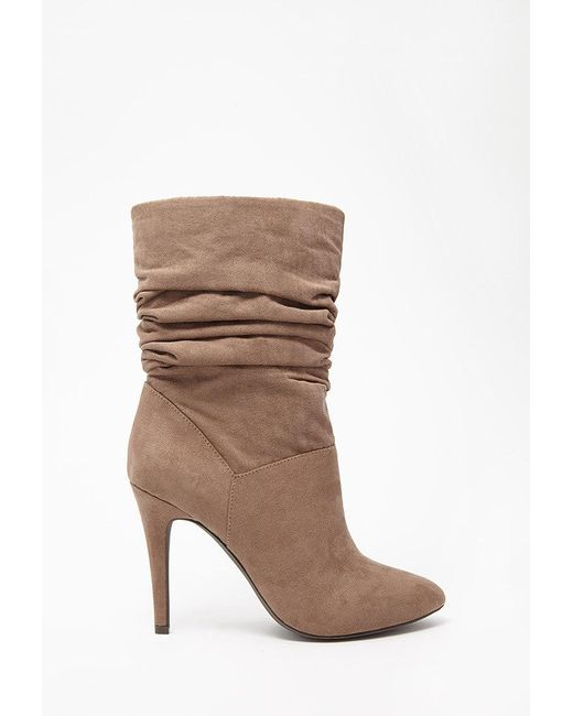 Forever 21 | Brown Slouchy Faux Suede Booties | Lyst