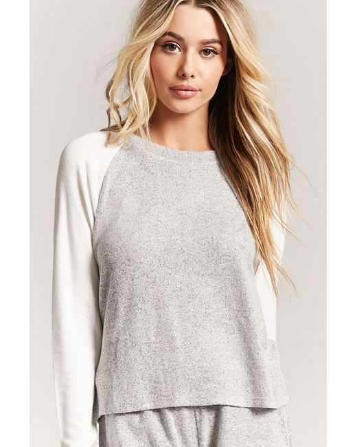 Forever 21 - Gray Heathered Raglan Pyjama Top - Lyst