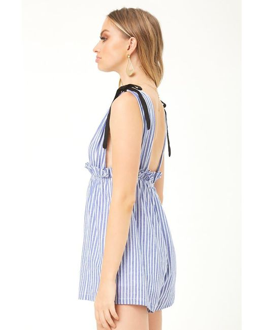 663a5266c2c ... Forever 21 - Blue Tee Ink Striped Linen Romper - Lyst