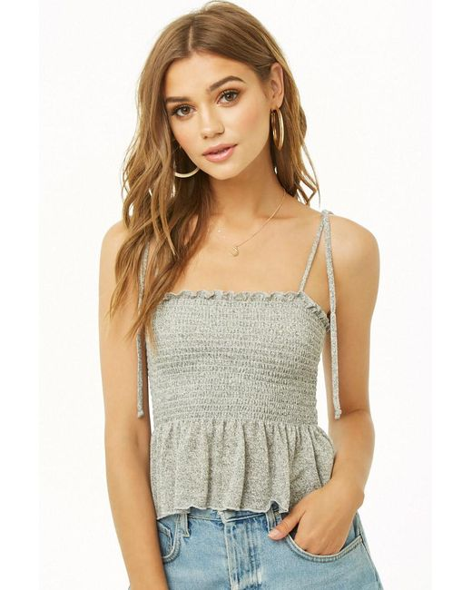 Forever 21 - Gray Marled Smocked Cami - Lyst