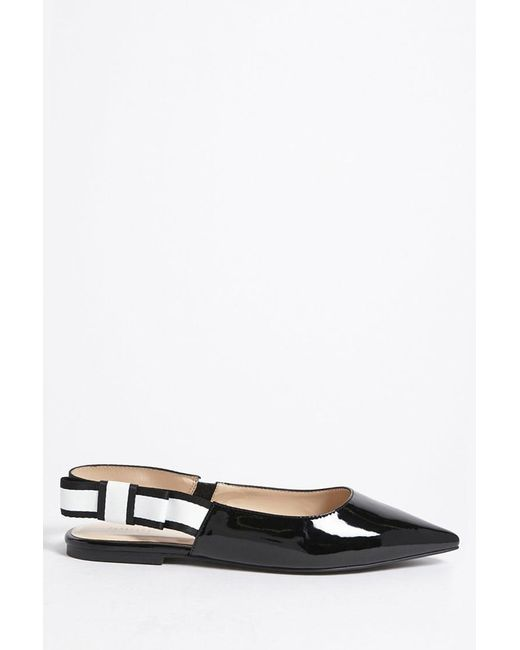Forever 21 - Black Faux Patent Leather Slingback Flats - Lyst