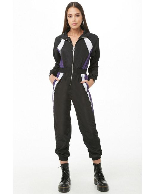 cd93eb401dc Forever 21 - Black Colorblock Wind Jumpsuit - Lyst ...