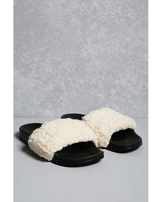 Forever 21 - White Repurposed Sherpa Slides - Lyst