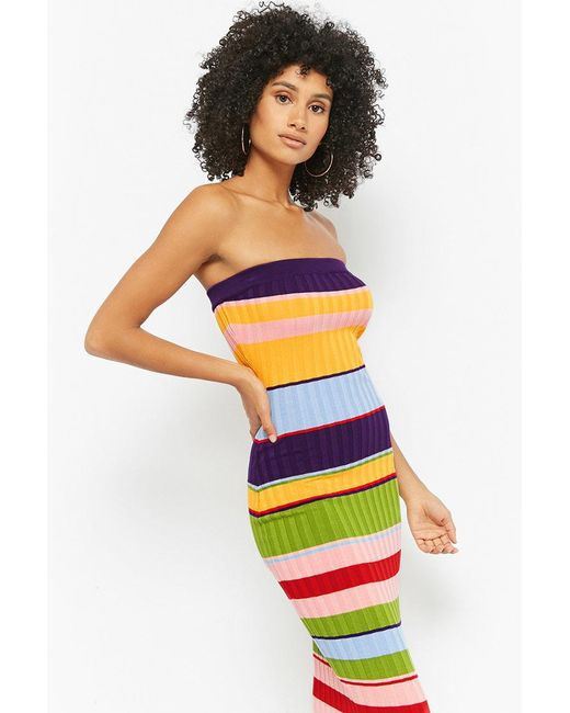 Forever 21 - Blue Multicolor Ribbed Bodycon Tube Dress - Lyst