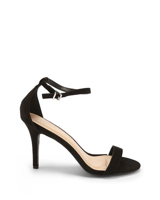 FOREVER21 - Black Faux Suede Ankle-wrap Heels - Lyst