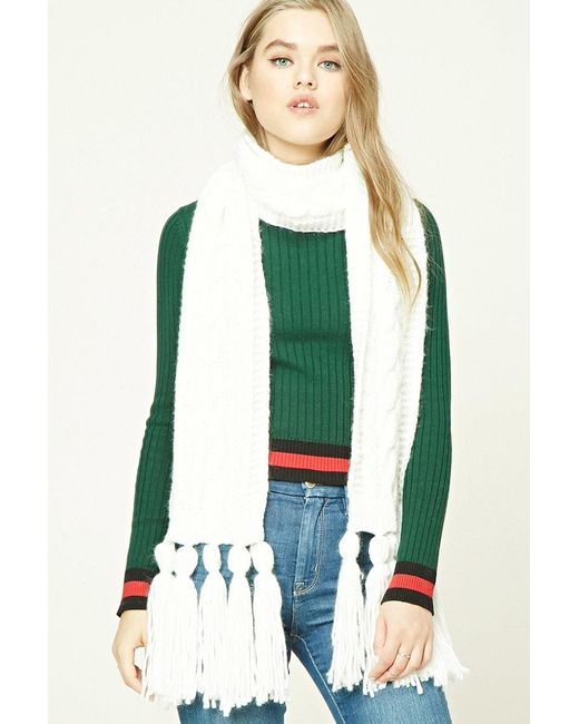Forever 21 - Green Tasseled Cable Knit Scarf - Lyst