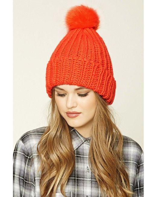 Forever 21   Orange Ribbed Knit Pom-pom Beanie   Lyst