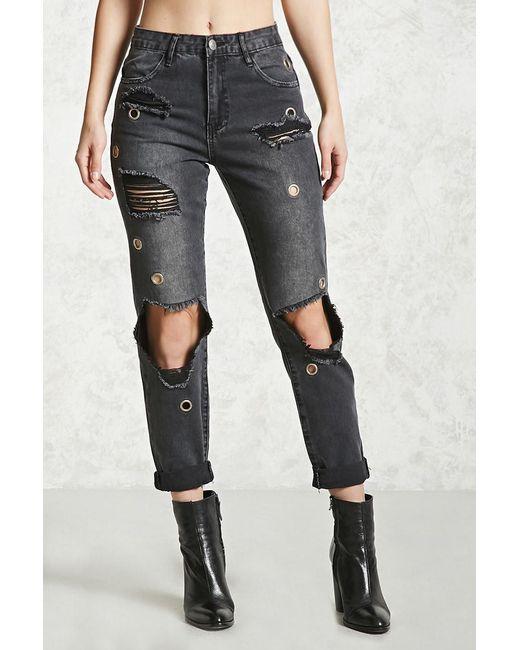 ... Forever 21 | Black Distressed Grommet Jeans | Lyst ...