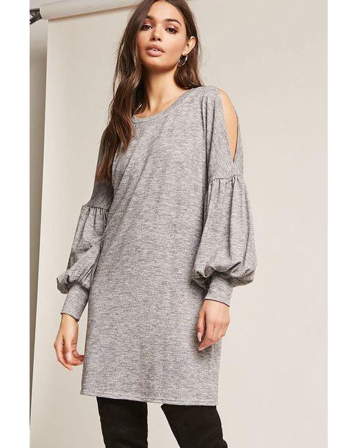Forever 21 | Gray Split Balloon-sleeve Dress | Lyst