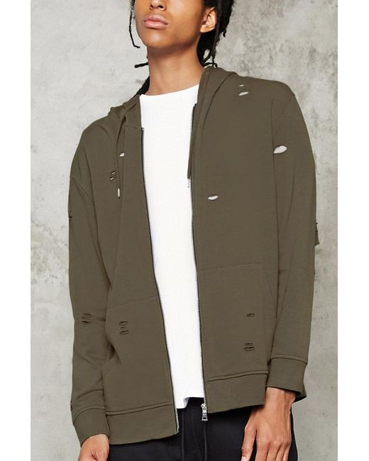 Forever 21 - Blue Distressed Zip-up Hoodie for Men - Lyst