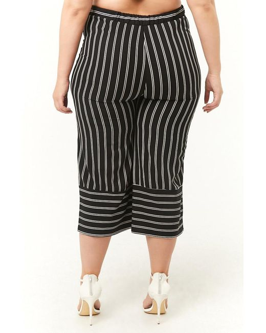 5a9f3a0547 ... Forever 21 - Black Plus Size Striped Culottes - Lyst