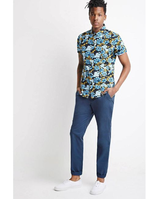 Forever 21 - Blue Slim Cotton Chinos for Men - Lyst
