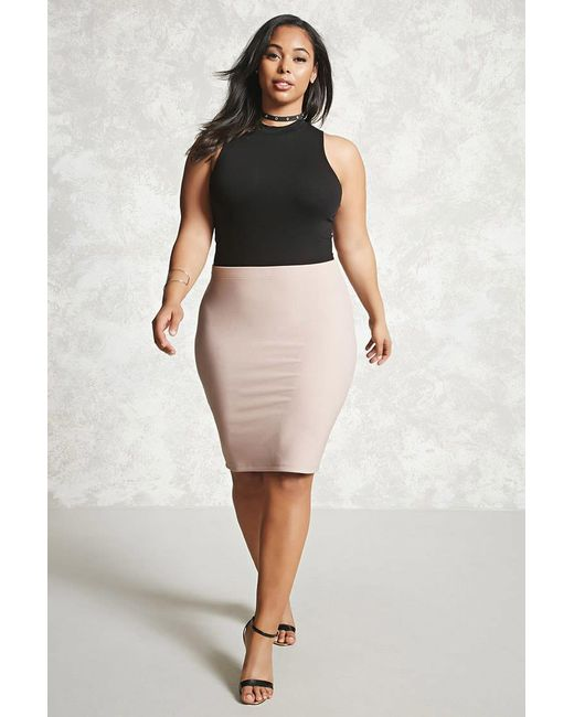 Forever 21 | Pink Plus Size Bodycon Skirt | Lyst