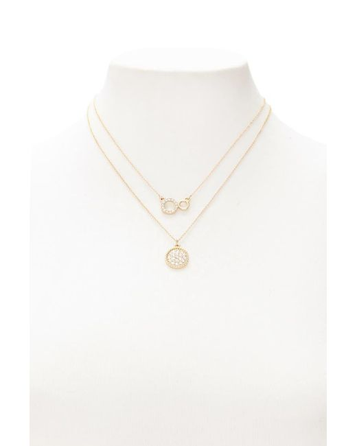 Forever 21 | Metallic Rhinestone Pendant Necklace Set | Lyst
