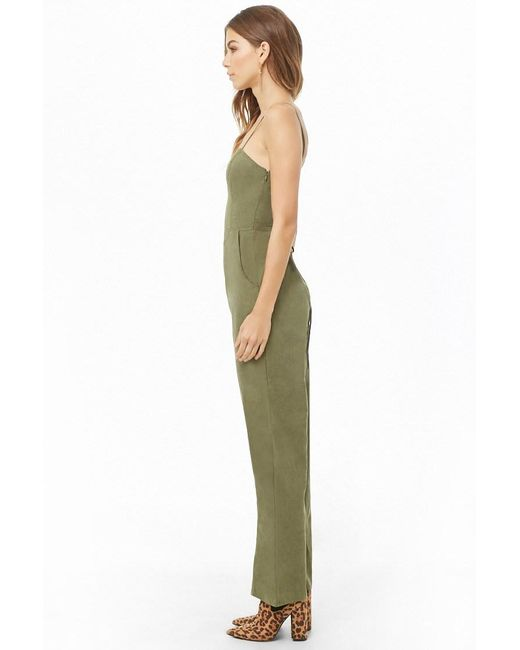 2b751f621561 ... Forever 21 - Green Lace-up Wide-leg Jumpsuit - Lyst