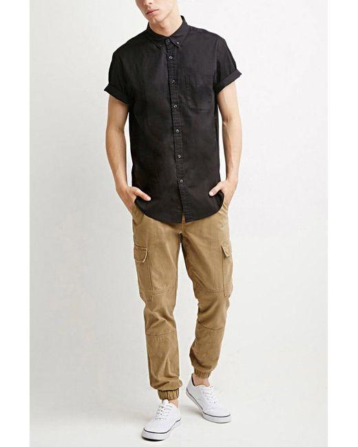 Forever 21 | Black Button-collar Shirt for Men | Lyst