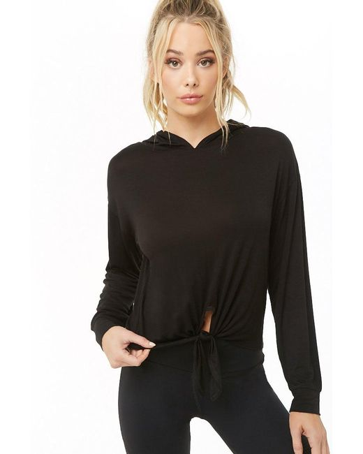 Forever 21 - Active Tie-front Top , Black - Lyst