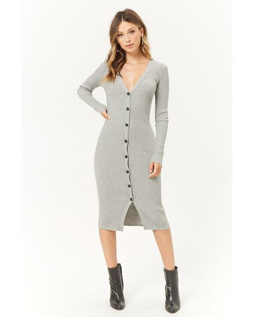 Forever 21 - Gray Ribbed Duster Cardigan - Lyst
