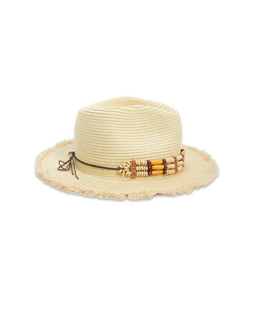 ... Forever 21 - Natural Beaded-trim Straw Fedora - Lyst 990f4c2be73f