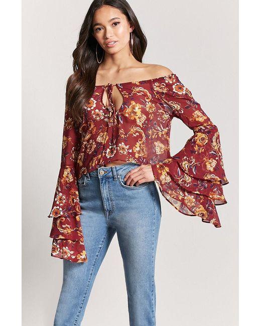Forever 21 - Red Floral Off-the-shoulder Top - Lyst