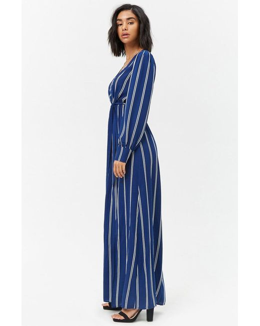 bdf7543c10 ... Forever 21 - Blue Striped M-slit Maxi Dress - Lyst