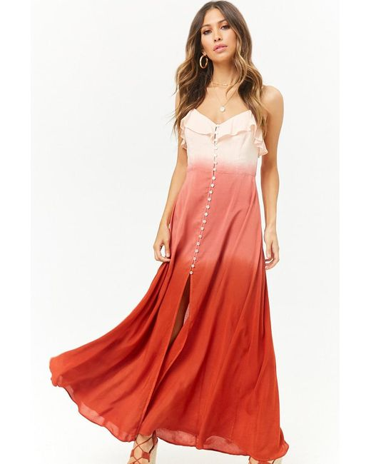 Forever 21 - Pink Ombre Button-front Cutout Cami Maxi Dress - Lyst