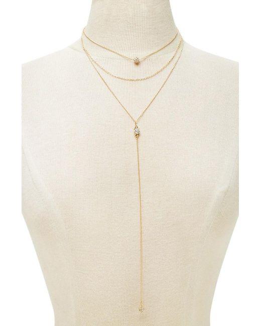 Forever 21   Metallic Layered Rhinestone Necklace   Lyst