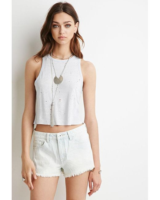 Forever 21 | Blue Frayed Denim Shorts | Lyst