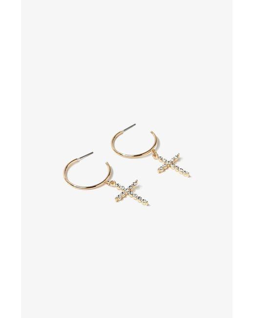 Forever 21 - Metallic Rhinestone Cross Hoop Earrings , Gold - Lyst