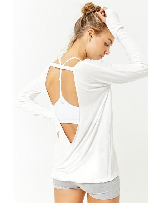 Forever 21 - Active Plunging Back Top , White - Lyst