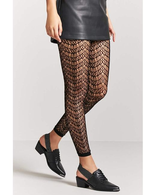 Forever 21 | Black Footless Geo Cutout Tights | Lyst