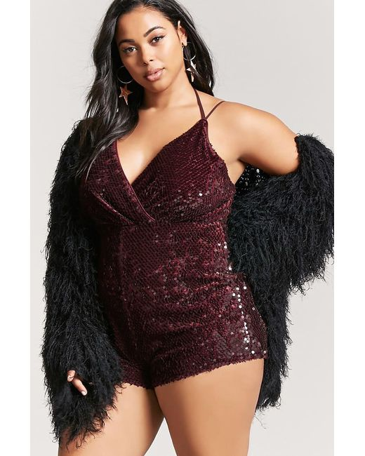 Forever 21 | Purple Plus Size Sequin Velvet Playsuit | Lyst