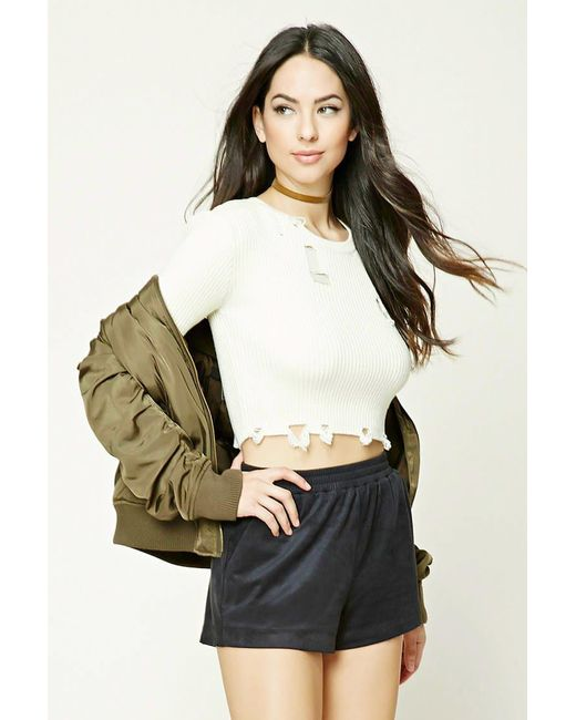 Forever 21 | Black Faux Suede Shorts | Lyst