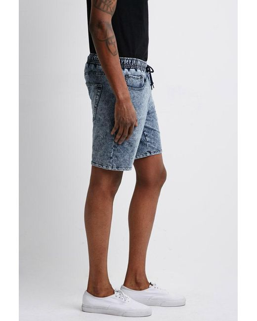 Forever 21 | Blue Acid Wash French Terry Sweatshorts for Men | Lyst