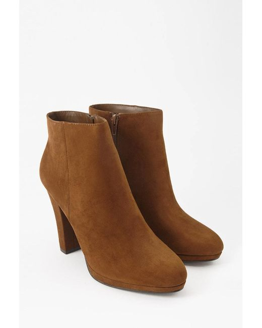FOREVER21 - Brown Faux Suede Booties - Lyst