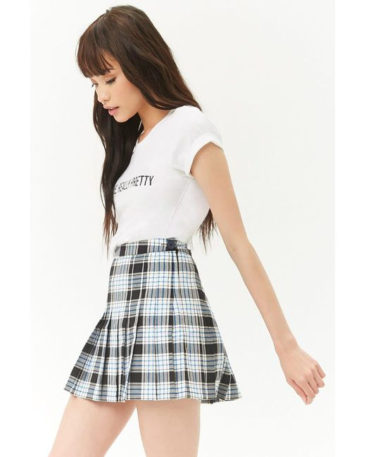 Forever 21 - Black Plaid Knife Pleat Skirt - Lyst