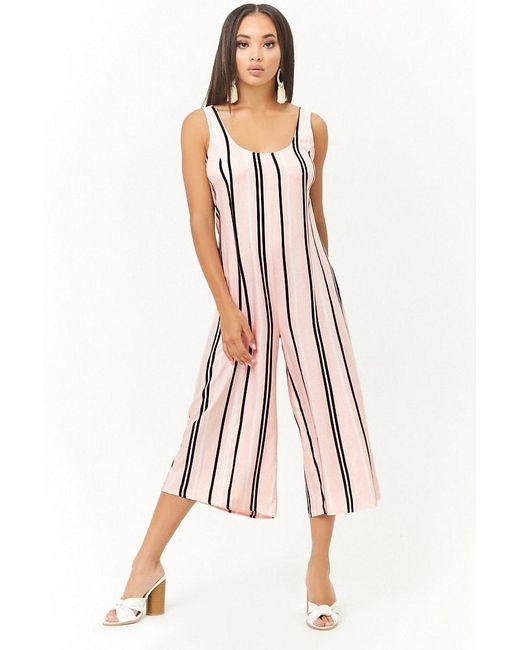 1d7af4b5449 Forever 21 - Pink Striped Culotte Jumpsuit - Lyst ...