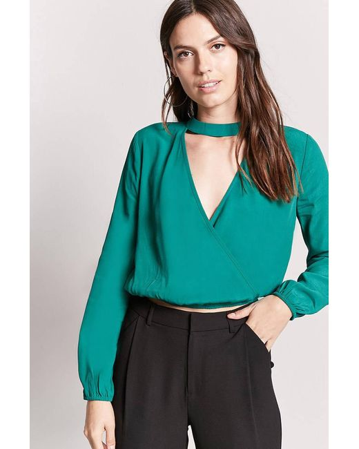 Forever 21 | Green Chiffon Mock Neck Top | Lyst