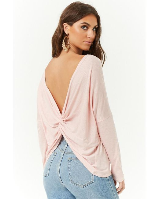 Forever 21 - Pink Twist-back Top - Lyst