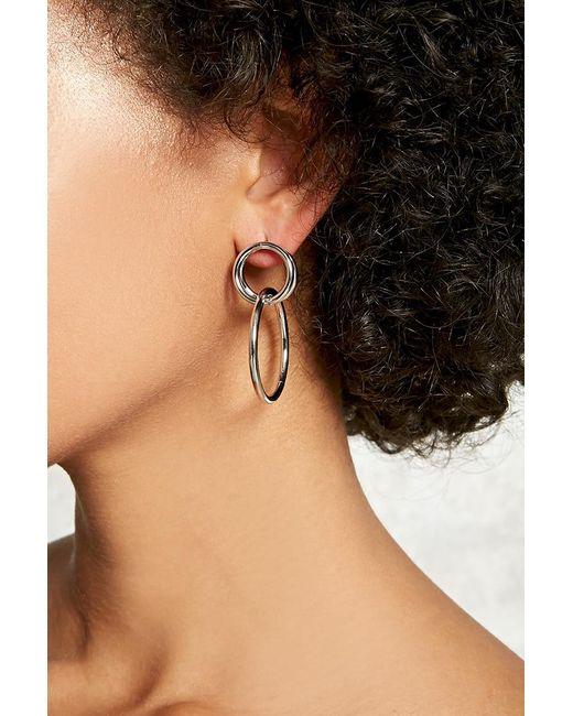 FOREVER21 - Metallic Drop Hoop Earrings - Lyst
