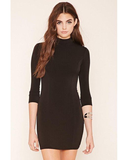 Forever 21 | Black Mock Neck Mini Dress | Lyst